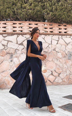 Navy Plunge Front Cape Jumpsuit by Club L London Product photo