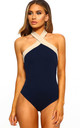 Never Enough Navy And Nude Halterneck Bodysuit by Pink Boutique