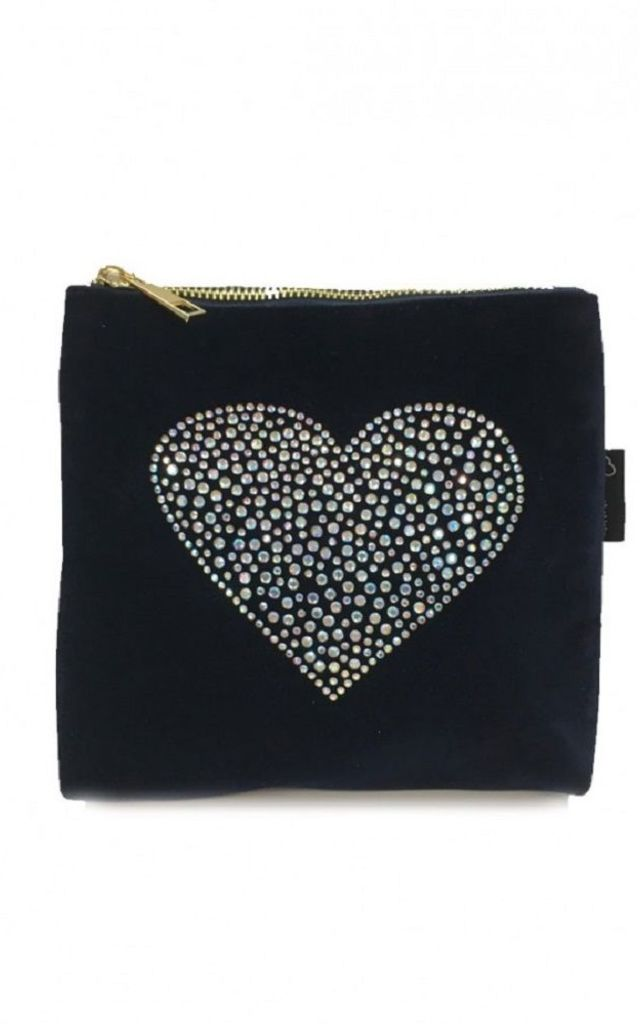 Navy blue velvet sequin crystal heart bag by Soul Warriors
