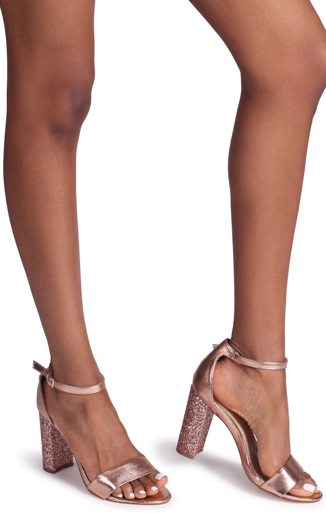 Kori Rose Gold Barely There With Glitter Block Heel by Linzi
