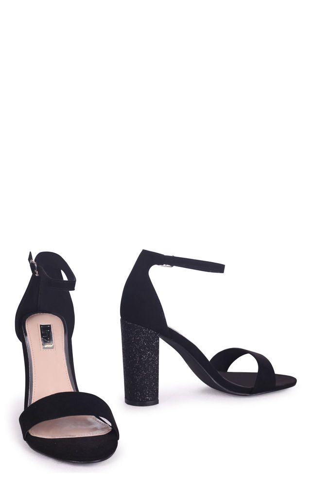 Kori Black Suede Barely There With Glitter Block Heel by Linzi