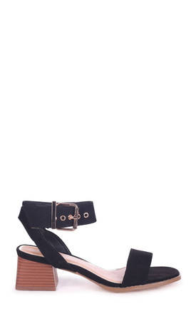 Venus Black Suede Stacked Block Heel Sandal With Large Buckle Detail by Linzi