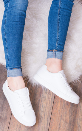 MADYSON Lace Up Flat Trainers Shoes - White Leather Style by SpyLoveBuy