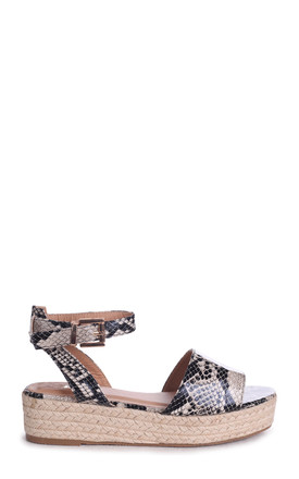 Destiny Natural Snake Espadrille Inspired Two Part Flatform With Buckle Detail by Linzi