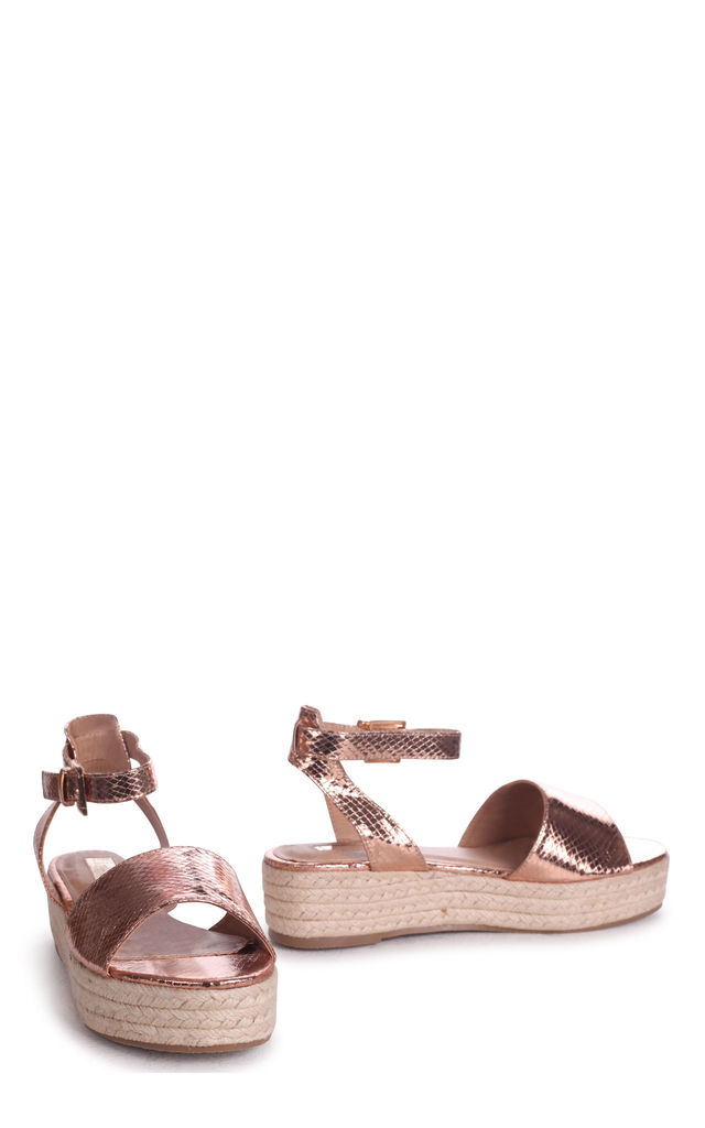 Destiny Rose Gold Espadrille Inspired Two Part Flatform With Buckle Detail by Linzi