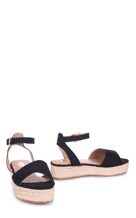 Destiny Black Suede Espadrille Inspired Two Part Flatform With Buckle Detail by Linzi