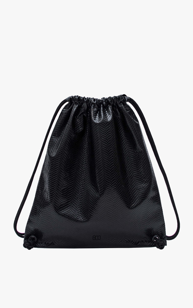 Faux Leather Boopack Drawstring Bag in Cobra Snake Skin Black by BOO