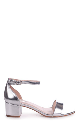 Hollie Silver Metallic Barely There Block Heeled Sandal With Closed Back by Linzi