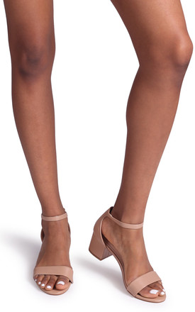 Hollie Mocha Nappa Barely There Block Heeled Sandal With Closed Back by Linzi