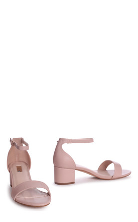 Hollie Nude Nappa Barely There Block Heeled Sandal With Closed Back by Linzi
