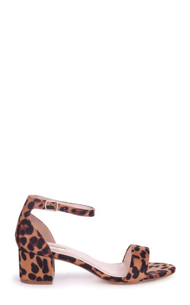 Hollie Brown Leopard Suede Barely There Block Heeled Sandal With Closed Back by Linzi