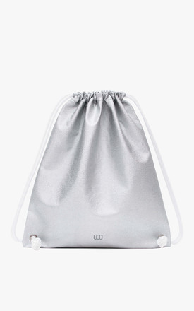 Faux Leather Drawstring Boopack Bag in Silver Hologram by BOO
