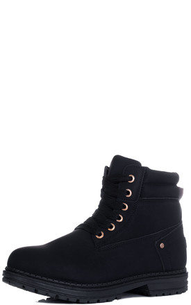 Morgan Lace Up Cleated Sole Flat Combat Worker Walking Ankle Boots Shoes   V2 Black Leather Style by SpyLoveBuy Product photo