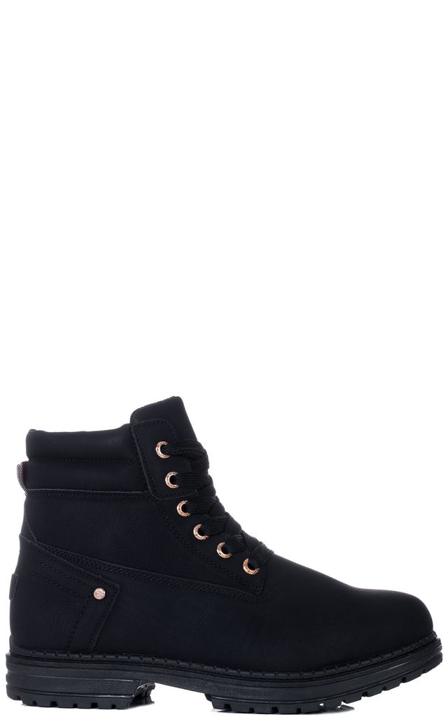 MORGAN Lace Up Cleated Sole Flat Combat Worker Walking Ankle Boots Shoes - V2 Black Leather Style by SpyLoveBuy