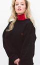 Relaxed Fit Sweater With Long Puff Sleeves in Black by BOO
