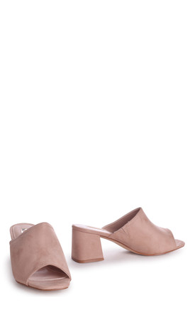 Robyn Nude Suede Square Toe Open Mule by Linzi