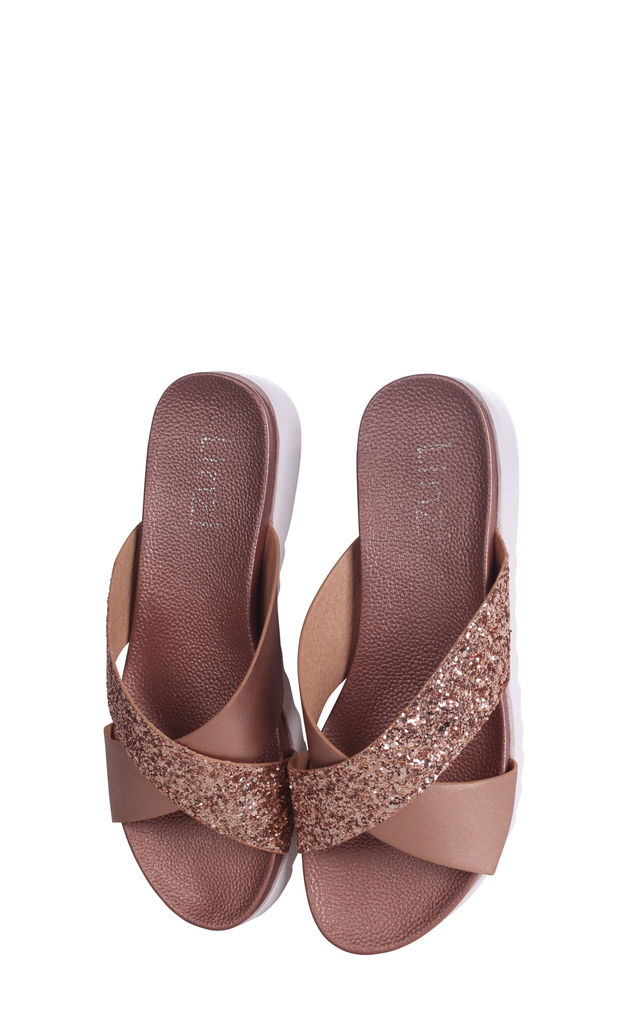 Sarita Rose Gold Glitter Slider With Crossover Front Strap And Cleated Sole by Linzi