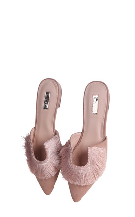 Lillian Nude Suede Pointed Slip On Mule With Fringe Detail by Linzi