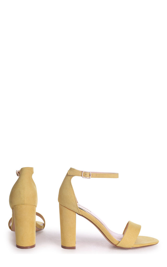 Nelly Barely There Block Heels in Yellow Suede by Linzi