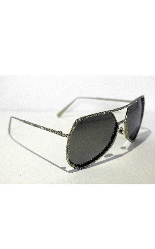 Diamond Glitz Embellished Sunglasses in Silver by Neish Clothing