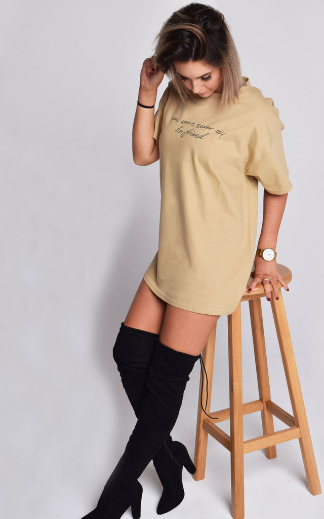 01d5310a7 'Never my Boyfriend' Oversized Slogan T-shirt in Sand by Twisted Saint. '