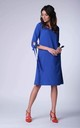 Cobalt Blue Bow on Sleeve Loose Dress by Bergamo