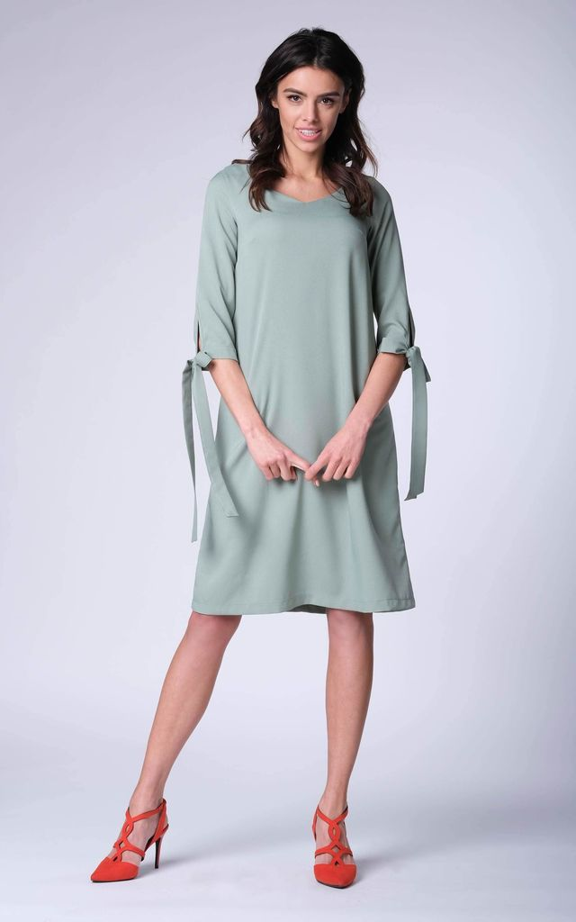 Green Bow on Sleeve Loose Dress by Bergamo