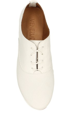 GOLF WHITE Flat MOCCASINS in Leather by E&A Fashion