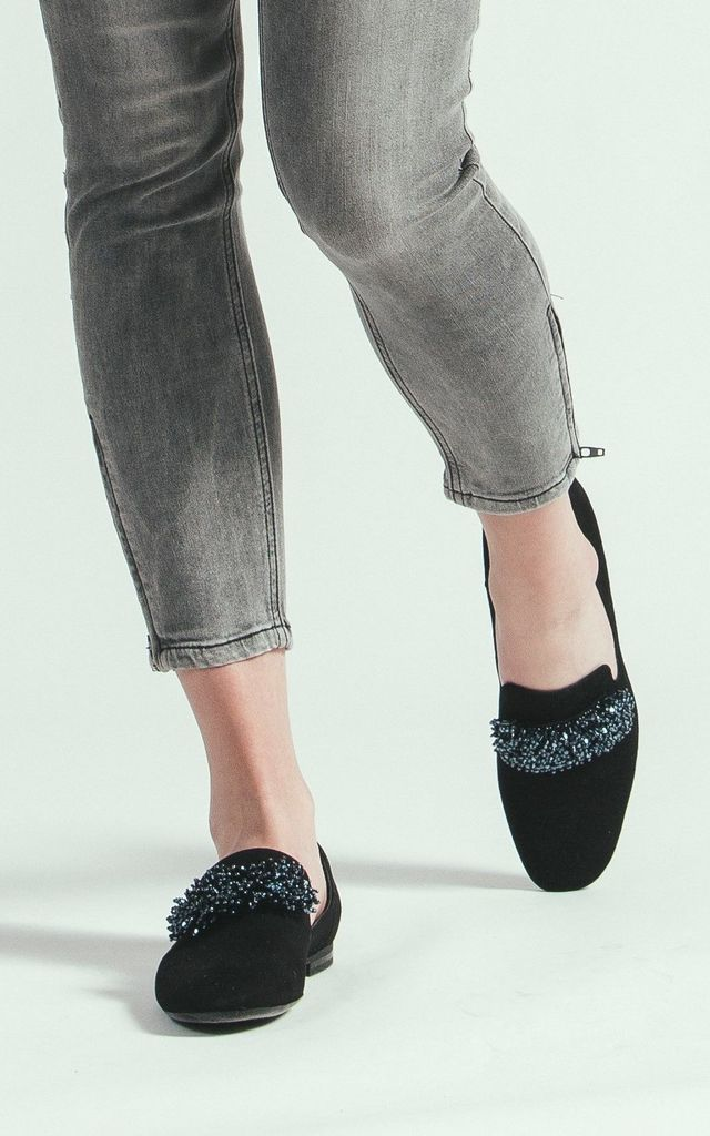 Black suede moccasins with metallic beads by E&A Fashion
