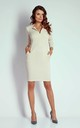 Beige 3/4 Sleeve Pockets Fitted Dress by Bergamo