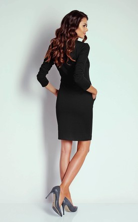 Black 3/4 Sleeve Pockets Fitted Dress by Bergamo