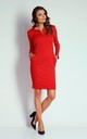 Red 3/4 Sleeve Pockets Fitted Dress by Bergamo
