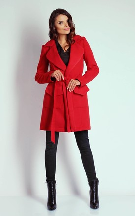 Red Mid-Lenght Tied Coat by Bergamo