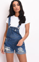 Ripped detail denim dungaree shorts blue by LILY LULU FASHION