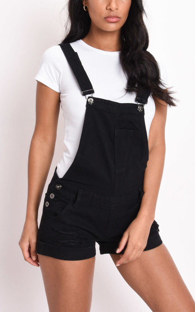 Ripped detail denim dungaree shorts black by LILY LULU FASHION