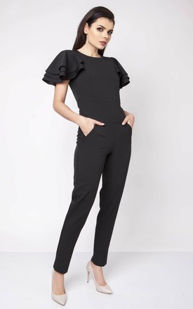 Black Detail Short Sleeve Tailored Jumpsuit by Bergamo