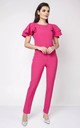 Pink Detail Short Sleeve Tailored Jumpsuit by Bergamo