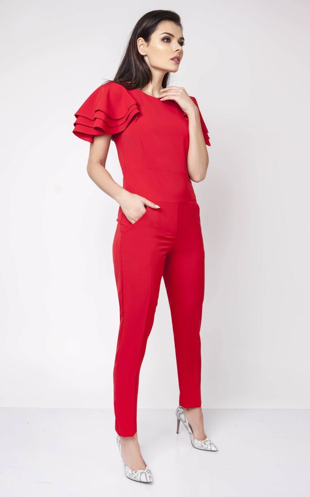 b5e261b976 Red Detail Short Sleeve Tailored Jumpsuit by Bergamo