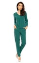 Green Long Sleeve V-Neck Pleat Jumpsuit by Bergamo