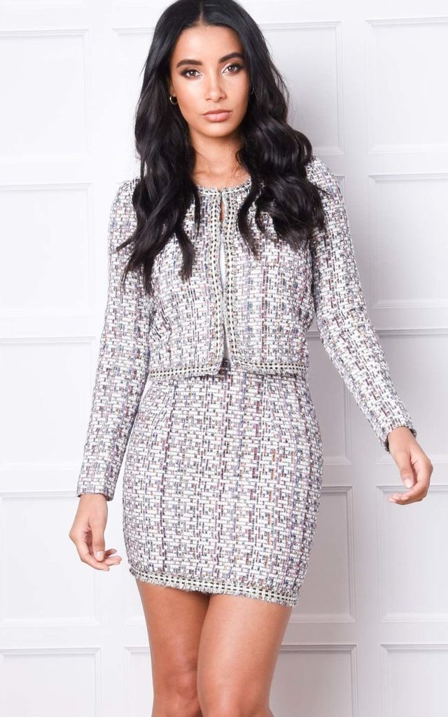 Tweed Blazer and Skirt Co Ord Set White by LILY LULU FASHION