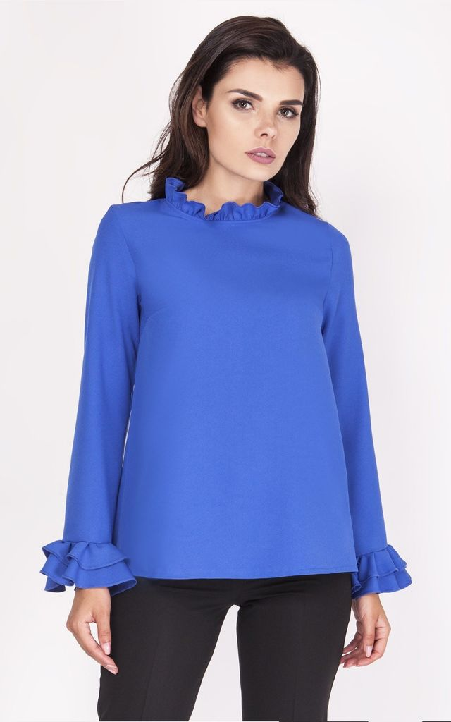 Long Sleeve Blouse with Frill Details in Cobalt Blue by Bergamo