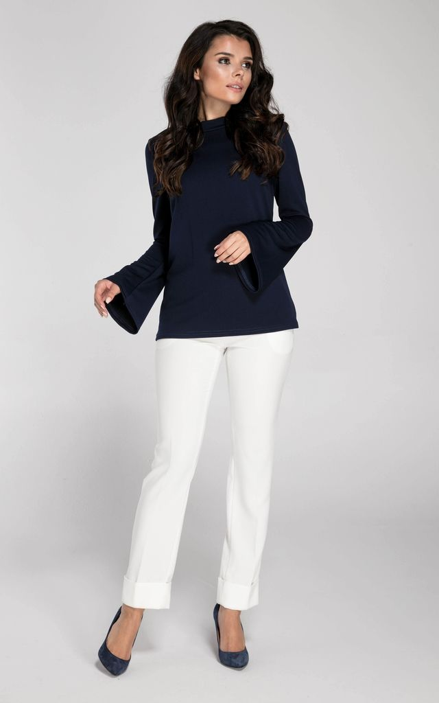 Navy Long Sleeve Top with Bell Sleeves by Bergamo