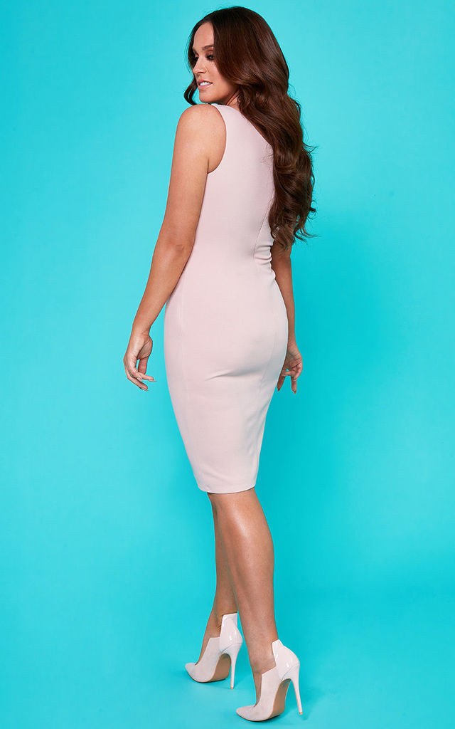 Vicky Pattison – Bow Detail Sleeveless Bodycon Midi Dress in Blush Pink by Goddiva