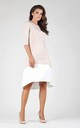 Beige Short Sleeve Flared Two Color Dress by Bergamo
