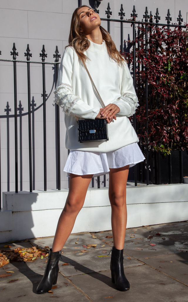Soft Knit Embellished Sleeve Longline Jumper In Cream by Styled In London