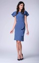 Denim Butterfly Sleeves Frill Pencil Dress by Bergamo