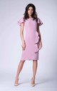 Light Pink Butterfly Sleeves Frill Pencil Dress by Bergamo