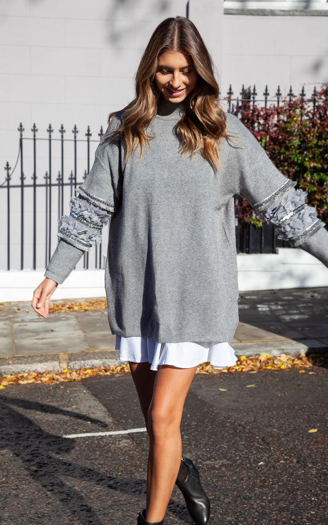 Soft Knit Embellished Sleeve Longline Jumper In Grey by Styled In London
