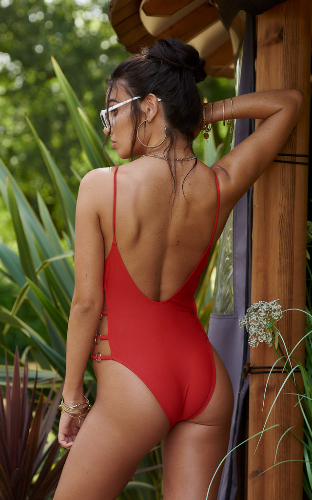 Red Ring Side Detail Swimsuit by Nakey Nakey