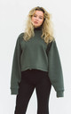 Relaxed Fit Sweater With Long Puff Sleeves in Olive Green by BOO
